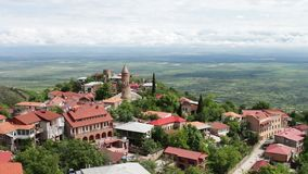 Sighnaghi, Georgia. Panoramic view on the city landscape.,View from the top of a picturesque Alazani Valley. stock footage