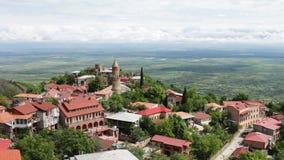 Sighnaghi, Gruzja Panoramiczny widok na miasto krajobrazie , widok z wierzchu malowniczej Alazani doliny zbiory
