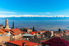 Sighnaghi jest georgian miasteczkiem w Gruzja ` s easternmost regionie Kakheti zdjęcia stock