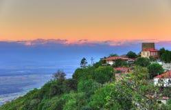 Sighnaghi am Sonnenuntergang, Kakheti Georgia lizenzfreies stockfoto