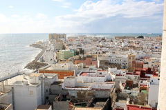 Sight at the Atlantic ocean near Cadiz , Spain. Sight from Poniente Tower, one of the towers of Cadiz Cathedral, upon the town and the Atlantic Ocean. On the Stock Photos