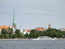 Sight av gammala Riga, den forntida delen av Riga Royaltyfria Foton