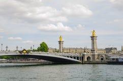 Sight of the bridge Alexander III. More beautiful view of Paris Royalty Free Stock Photo