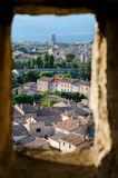Sight of Carcassonne new city from hole in the wall Royalty Free Stock Photos