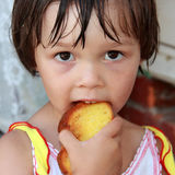 Sight of the child. An attentive sight of the little girl Royalty Free Stock Photography