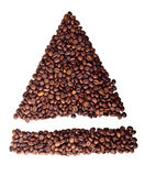 Sight 'close/open' from Coffee beans. On white isolated background Stock Images