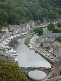 Sight of Dinan in Brittany in France seen by the tall one with its river  and its characteristic houses. Royalty Free Stock Image