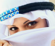 Sight of east woman. From under veils. Tunis Stock Photos