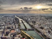 Sight on evening Seine from Eiffel tower. Paris city from Eiffel tower Royalty Free Stock Photography