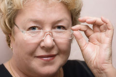 Sight because of glasses Royalty Free Stock Photo