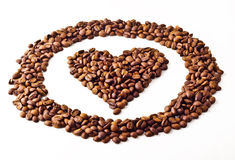 Sight 'Heart' in circle from Coffee beans. On white  background Stock Photography