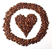 Sight 'Heart' in circle from Coffee beans. On white isolated background Royalty Free Stock Image