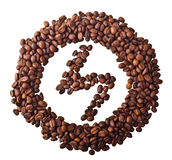 Sight 'lightning' in circle from Coffee beans. On white isolated background Royalty Free Stock Images