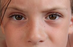 Sight of the little girl. Stare of the girl of preschool age with brown eyes royalty free stock photos