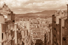 Sight of Marseille in sepia Stock Photography