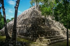 Sight of the Mayan pyramid in ruins in the archaeological Balamku enclosure in the reservation of the biosphere of Calakmul, Camp. Eche, Mexico royalty free stock photography