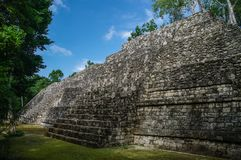 Sight of the Mayan pyramid in ruins in the archaeological Balamku enclosure in the reservation of the biosphere of Calakmul, Camp. Eche, Mexico royalty free stock images