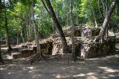Sight of the Mayan pyramid in ruins in the archaeological Balamku enclosure in the reservation of the biosphere of Calakmul, Camp. Eche, Mexico stock images