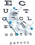 Sight measuring spectacles & eye chart. Optometry concept - sight measuring spectacles & eye chart Stock Photos