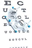 Sight measuring spectacles & eye chart Royalty Free Stock Photography