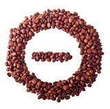 Sight 'minus' in circle from Coffee beans. On white isolated background Stock Photos