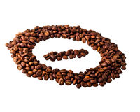 Sight 'minus' in circle from Coffee beans. On white isolated background Stock Photography