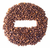 Sight 'minus' in circle from Coffee beans. On white isolated background Royalty Free Stock Image