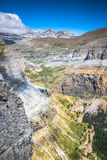 Sight of Monte Perdido and Ordesa`s valley in the spanish nation. Al park Ordesa and Monte Perdido, Pyrenees Stock Images