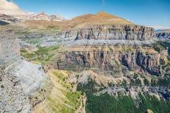 Sight of Monte Perdido and Ordesa`s valley in the spanish nation. Al park Ordesa and Monte Perdido, Pyrenees Stock Image