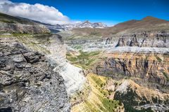 Sight of Monte Perdido and Ordesa valley in the spanish nation. Al park Ordesa and Monte Perdido, Pyrenees Stock Photography