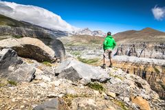 Sight of Monte Perdido and Ordesa valley in the spanish nation. Al park Ordesa and Monte Perdido, Pyrenees Royalty Free Stock Photos