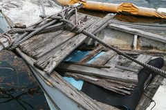 A sight of an old wooden ship at the harbor Stock Photography