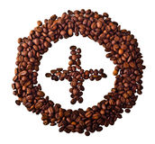 Sight 'Plus' in circle from Coffee beans. On white isolated background Stock Image