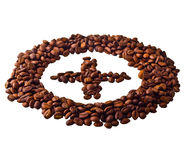 Sight 'Plus' in circle from Coffee beans. On white isolated background Stock Photos