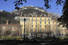 Sight of the Rachais from Grenoble. Rachais mountain as seen from the 'Jardin de villle' in Grenoble stock photo