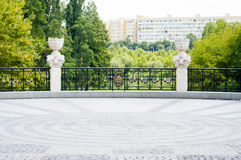 Sight seeing area. With old stone pavement in a park Stock Photo