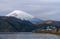 Sight seeing from big ship on Hakone Lake with Fuji mountain Royalty Free Stock Photos