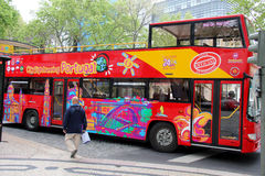 Sight Seeing bus. On the road  Rua da Libedade in Lisbon Portugal. Photo taken April 2014 Royalty Free Stock Photos