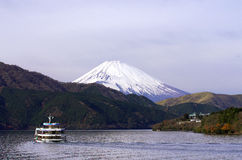 Sight seeing ship on Hakone Lake with Fuji mountain background, Stock Photos
