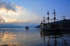 Sight seeing ships on Lake Ashi, Japan Royalty Free Stock Photography