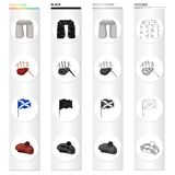 A sight Stonehenge, the musical bagpipe tool, a national flag of Scotland, Tam o`Shanter. Country Scotland set. Collection icons in cartoon black monochrome Stock Image