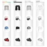 A sight Stonehenge, the musical bagpipe tool, a national flag of Scotland, Tam o`Shanter. Country Scotland set Stock Image