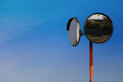 A sight of sunny blue sky and curved mirror Stock Photography