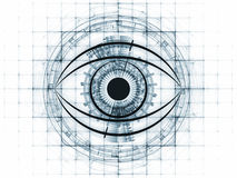 Sight of technology. Eye outlines, fractal and abstract design elements arrangement suitable as a backdrop in projects on modern technologies, mechanical