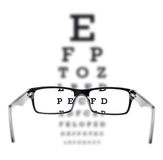 Sight test seen through eye glasses. White background Royalty Free Stock Photography