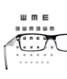 Sight test seen through eye glasses Stock Image