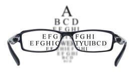 Sight test seen through eye glasses Royalty Free Stock Photos