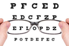 Sight test seen through eye glasses Royalty Free Stock Image
