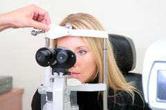 The sight testing. The photographic session in the optical institution Stock Photography