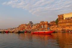 Sight of Varanasi from Ganga river stock photos